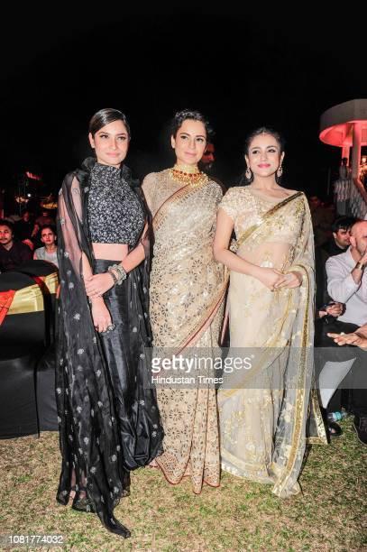 Bollywood actors Kangana Ranaut Ankita Lokhande and Mishti Chakraborty during the launch of the first song titled Vijayi Bhava from the film...
