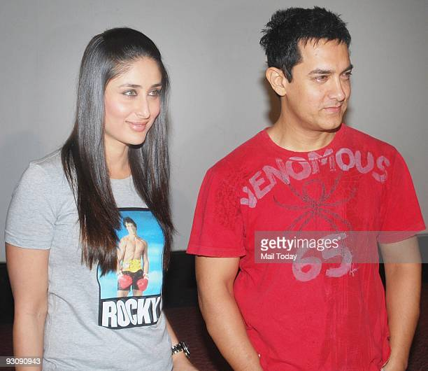 Bollywood actors Kareena Kapoor and Amir Khan at the launch of a new song from the film 3 Idiots in Mumbai on Thursday November 12 2009