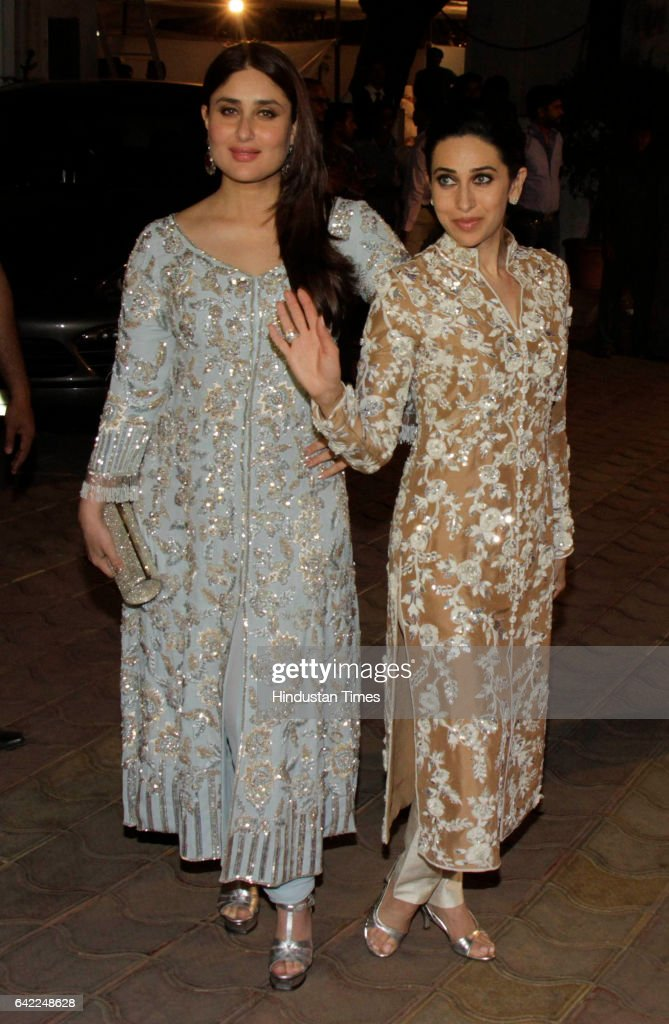 Bollywood actors Kareena Kapoor and Karisma Kapoor during the 70th birthday celebration of veteran actor Randhir Kapoor at his bungalow Chembur on...