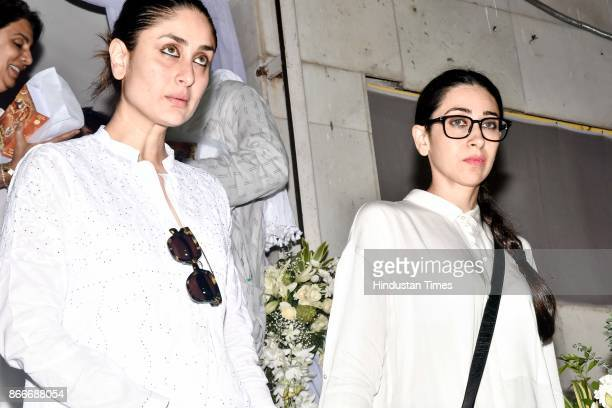 Bollywood actors Kareena Kapoor and Karisma Kapoor during the prayer meeting in loving memory of Ram Mukherjee at ISCON, Juhu, on October 25, 2017 in...