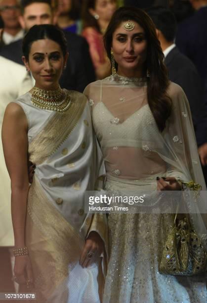 Bollywood actors Kareena Kapoor and Karisma Kapoor during the wedding of Reliance Industries Chairman Mukesh Ambani's daughter Isha Ambani and Anand...
