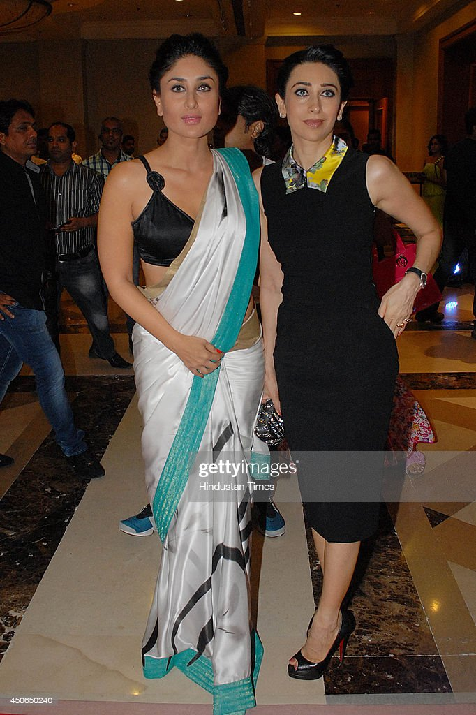 Bollywood actors Karisma Kapoor and Kareena Kapoor during the music launch of the movie Lekar Hum Deewana Dil on June 12 2014 in Mumbai India Lekar...