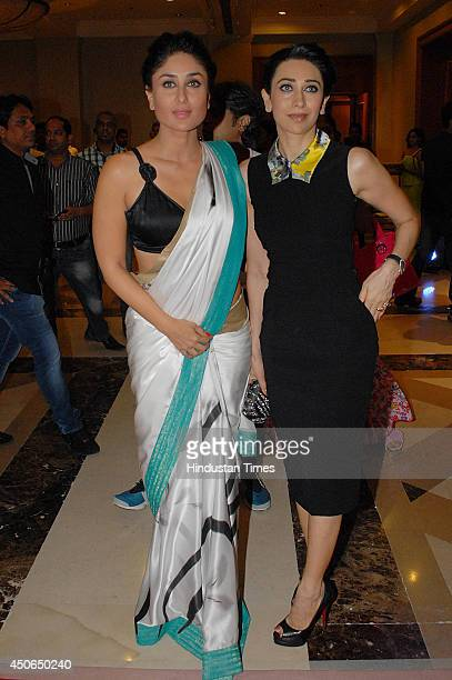 Bollywood actors Karisma Kapoor and Kareena Kapoor during the music launch of the movie Lekar Hum Deewana Dil on June 12 2014 in Mumbai India Lekar...