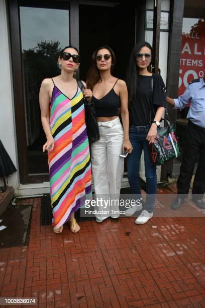 Bollywood actors Karisma Kapoor and Malaika Arora spotted on July 19 2018 in Mumbai India