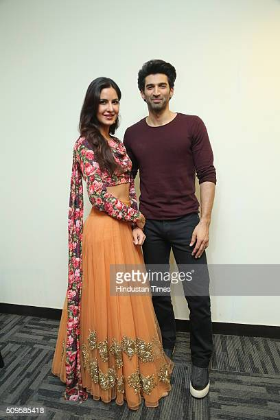 Bollywood actors Katrina Kaif and Aditya Roy Kapur during an interview for the promotion of their upcoming film Fitoor at HT Media Office on February...