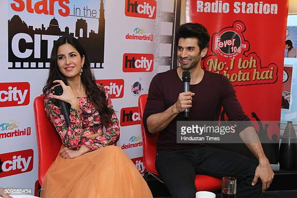 Bollywood actors Katrina Kaif and Aditya Roy Kapur interact during an interview for the promotion of their upcoming film Fitoor at HT Media Office on...
