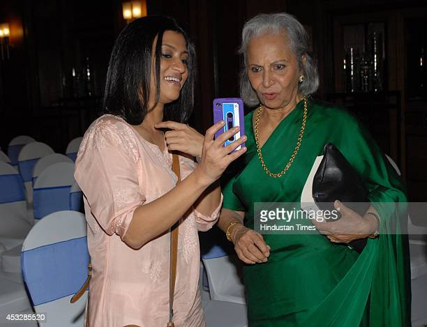 Bollywood actors Konkona Sen sharma with Waheeda Rehman during the launch of Kalyan Rays book No Country at Taj Landsend Hotel Bandra on August 5...