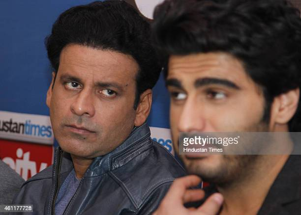 Bollywood actors Manoj Bajpai and Arjun Kapoor during an exclusive interview for their upcoming movie Tevar at HT Media Office on January 05 New...