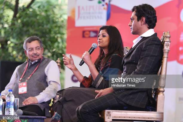 Bollywood actors Nandita Das and Nawazuddin Siddiqui in conversation with Vinod Dua during Manto The Man and the Legend session on the second day of...