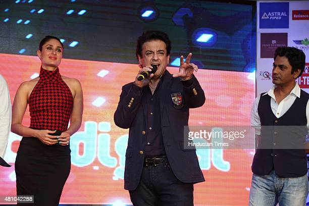 Bollywood actors Nawazuddin Siddiqui Kareena Kapoor and singer Adnan Sami during the promotion of upcoming movie Bajrangi Bhaijaan at the luxury and...