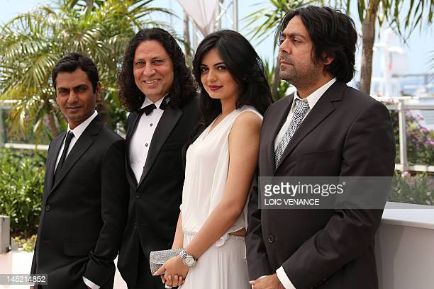 Bollywood actors Nawazuddin Siddiqui Niharika Singh and Anil George and Indian director Ashim Ahluwalia pose during the photocall of Miss Lovely...