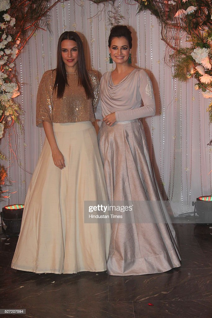 Bollywood actors Neha Dhupia and Dia Mirza at wedding reception of couple Bipasha Basu and Karan Singh on April 30 2016 in Mumbai India Bipasha Basu..