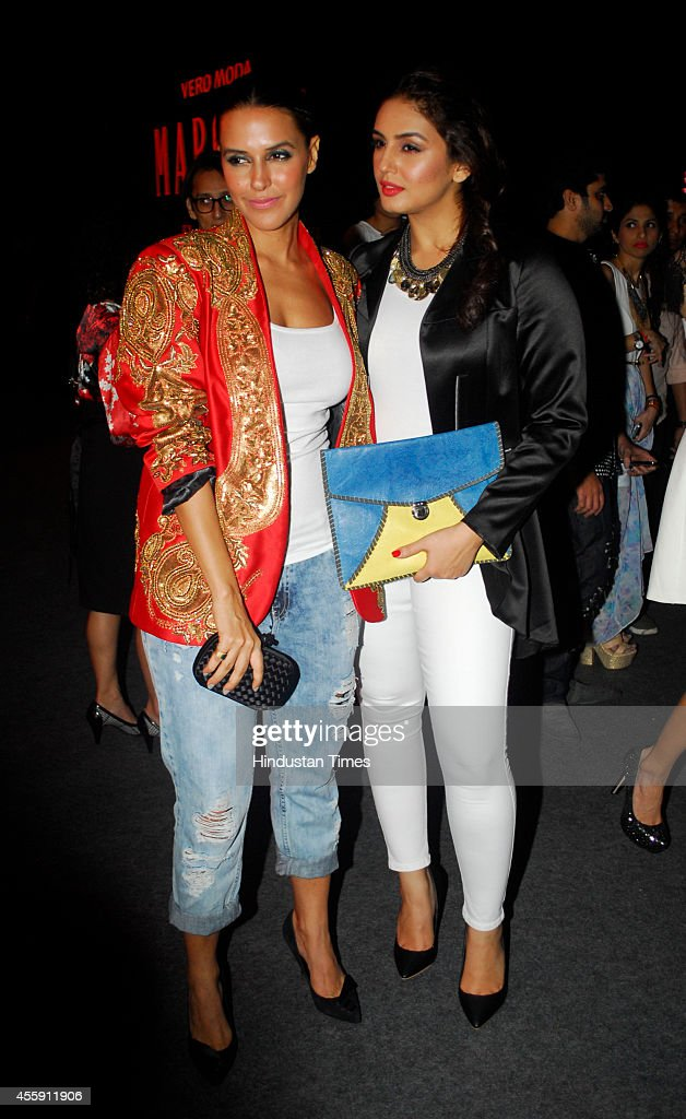 Bollywood actors Neha Dhupia and Huma Qureshi during the unveiling of Vero Moda collection designed by Bollywood filmmaker Karan Johar on September...