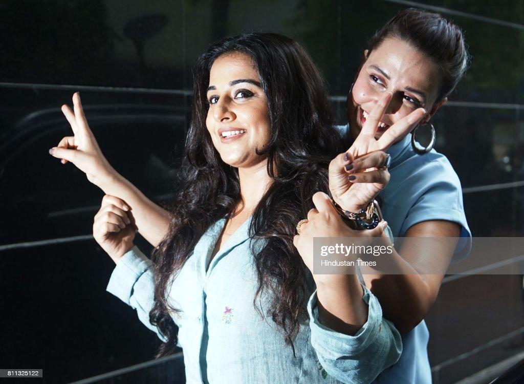 Bollywood actors Neha Dhupia and Vidya Balan spotted at Famous Studio Santacruz on July 5 2017 in Mumbai India