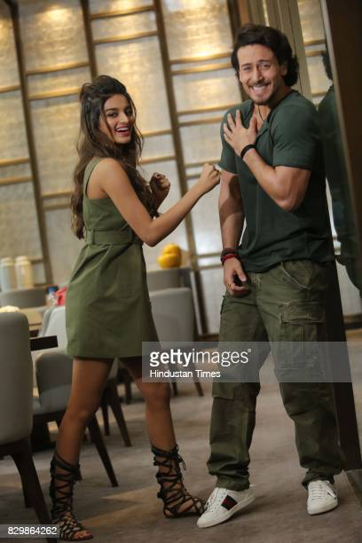 Bollywood actors Nidhhi Agerwal And Tiger Shroff pose during an exclusive interview with HT CityHindustan Times for the promotion of a movie 'Munna...