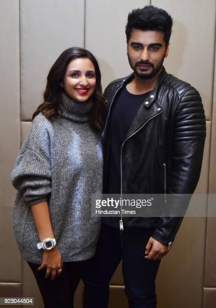 Bollywood actors Parineeti Chopra and Arjun Kapoor addressing the media before beginning their movie Namastey England on February 22 2018 in Amritsar...