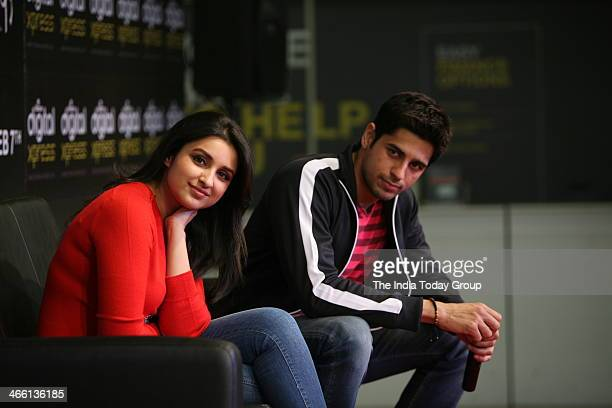 Bollywood actors Parineeti Chopra and Siddharth Malhotra at the launch of Hasee Toh Phasee mobile app in Mumbai on 30th January 2014