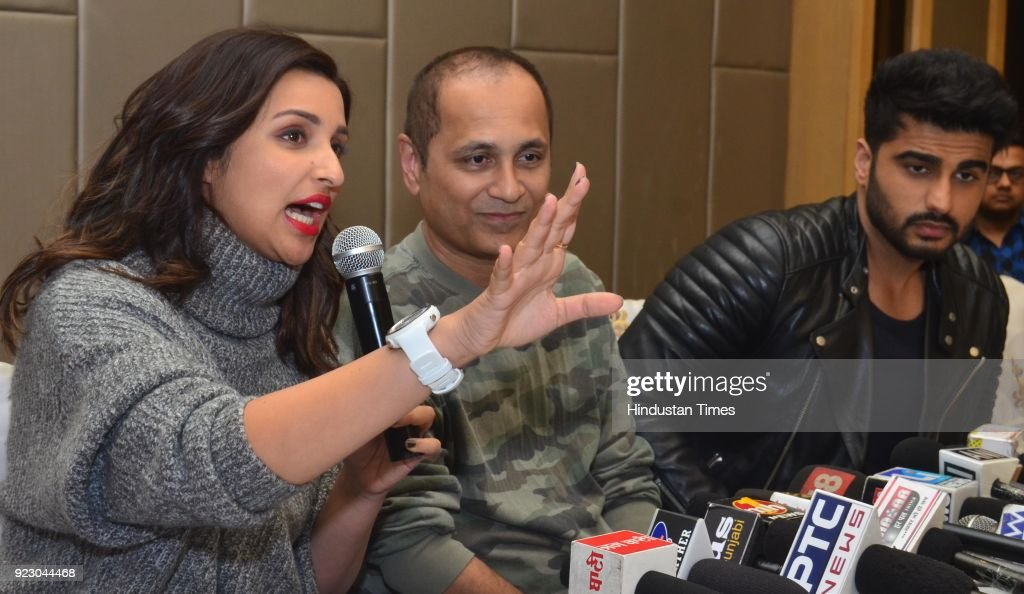 Bollywood actors Parineeti Chopra Arjun Kapoor and Director Vipul Amrutlal Shah addressing the media before beginning their movie Namastey England on.
