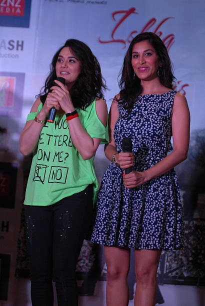 Bollywood actors Preity Zinta and Sophie Chaudhary at promotion of upcoming film Ishq in Paris in R city Mall on May 12 2013 in Mumbai India