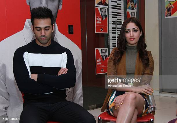 Bollywood actors Pulkit Samrat and Yami Gautam during an exclusive interview with HTCity for the promotion of an upcoming movie 'Sanam Re' at HT...