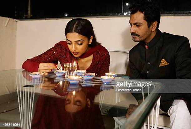 Bollywood actors Radhika Apte and Nawazuddin Siddiqui during an exclusive interview for Diwali festival with HT CafeHindustan Times at Cafe Terra...
