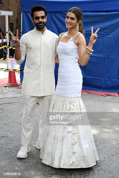 Bollywood actors Rajkummar Rao and Kriti Sanon pose for a photo at Filmistan studio during a promotional event of their upcoming film 'Hum Do Hamare...