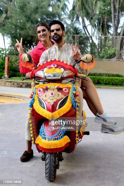 Bollywood actors Rajkummar Rao and Kriti Sanon pose for pictures during the promotion of their upcoming comedy drama Hindi film 'Hum Do Hamare Do' in...
