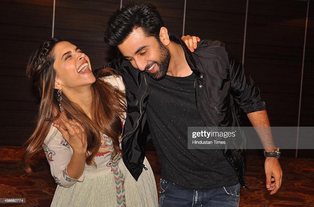 Bollywood actors Ranbir Kapoor and Deepika Padukone during a promotion of upcoming movie `Tamasha` at Hotel Holiday Punchkula on November 25 2015 in..