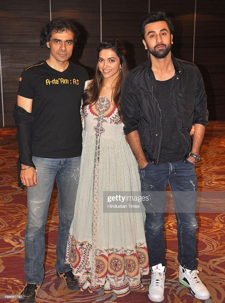Bollywood actors Ranbir Kapoor Deepika Padukone and director Imtiaz Ali during a promotion of upcoming movie `Tamasha` at Hotel Holiday Punchkula on..