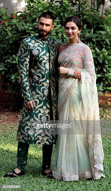 Bollywood actors Ranveer Singh and Deepika Padukone appear for the promotion of the upcoming Hindi film Bajirao Mastani in Mumbai on December 7 2015...