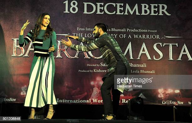 Bollywood actors Ranveer Singh and Deepika Padukone during the music promotional event of their upcoming movie Bajirao Mastani at Ambience Mall on...