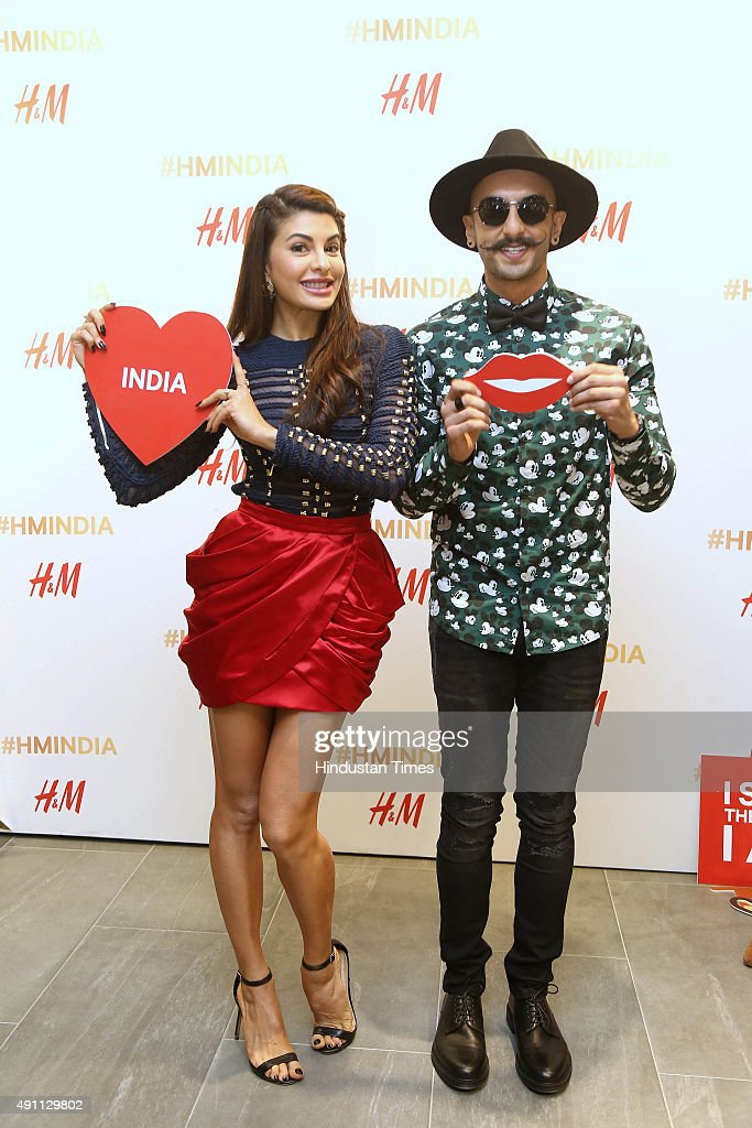 Bollywood actors Ranveer Singh and Jacqueline Fernandez during the launch of HM India`s flagship store at Select CITYWALK Saket on September 30 2015..