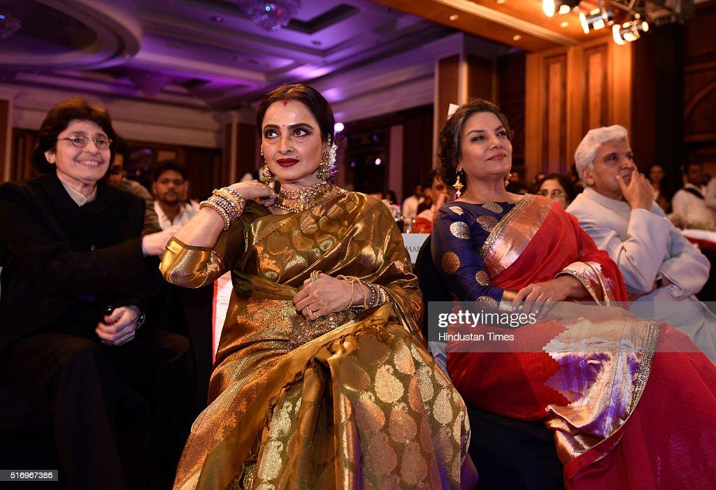 Bollywood actors Rekha and Shabana Azmi during Hindustan Times Most Stylish Awards 2016 at Taj Lands End Bandra on March 20 2016 in Mumbai India