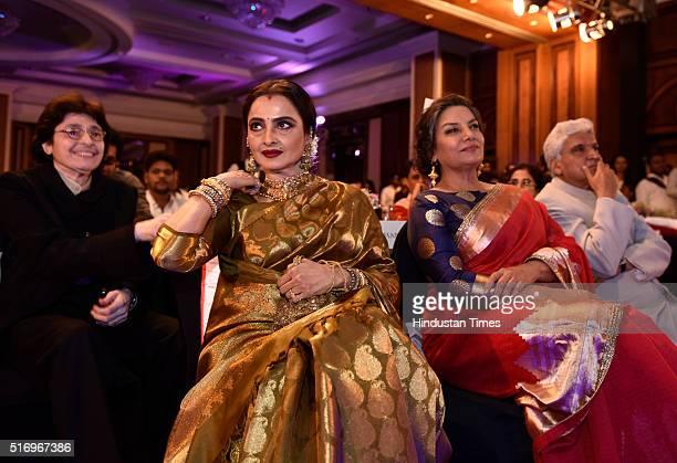 Bollywood actors Rekha and Shabana Azmi during Hindustan Times Most Stylish Awards 2016 at Taj Lands End, Bandra on March 20, 2016 in Mumbai, India.
