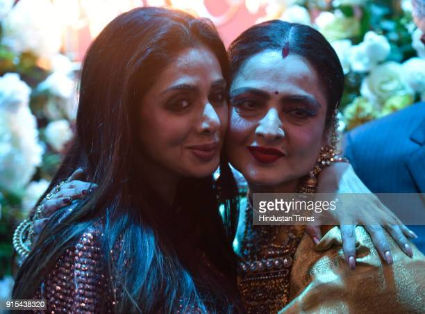 Bollywood actors Rekha and Sridevi during Hindustan Times India's Most Stylish Awards at Yash Raj Films Private Limited on January 24 2018 in Mumbai...