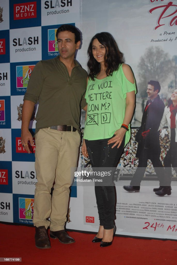 Bollywood actors Rhehan Malliek and Preity Zinta at promotion of upcoming film Ishq in Paris in R city Mall on May 12 2013 in Mumbai India