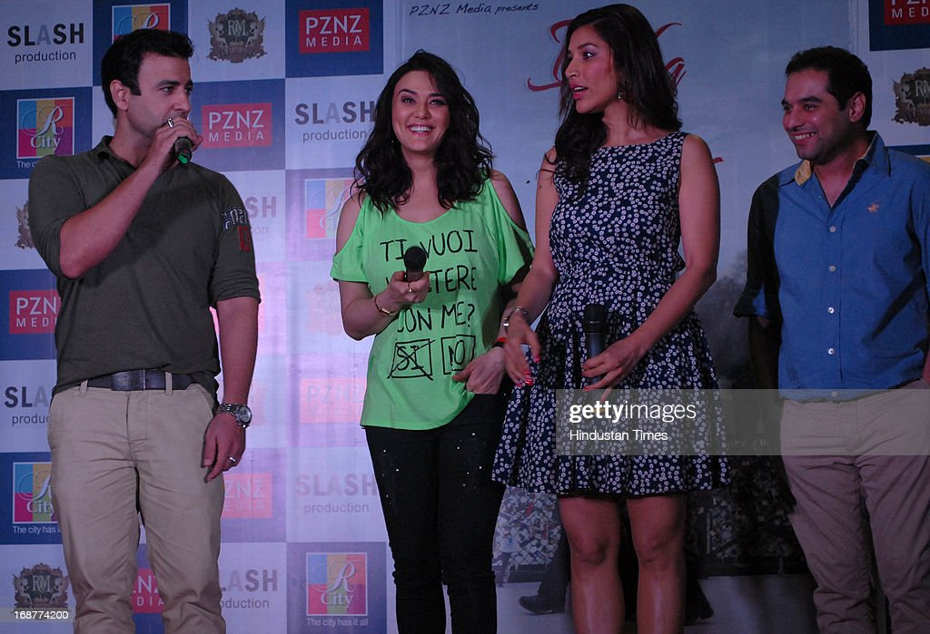 Bollywood actors Rhehan Malliek Preity Zinta Sophie Chaudhary with director Prem Raj at promotion of upcoming film Ishq in Paris in R city Mall on...
