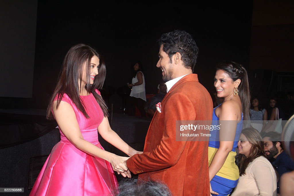 Bollywood actors Richa Chadha Randeep Hooda and Aishwarya Rai Bachchan at the trailer launch of upcoming Bollywood movie Sarbjit at Fun Republic...