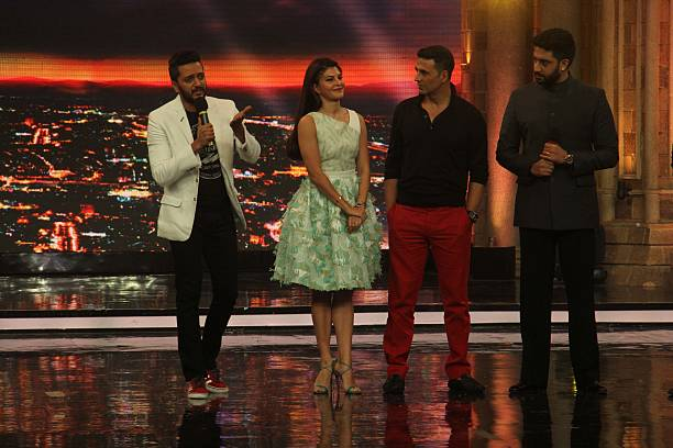 Bollywood actors Riteish Deshmukh Abhishek Bachchan Jacqueline Fernandez and Akshay Kumar during the promotion of movie 'Housefull 3' on the sets of..