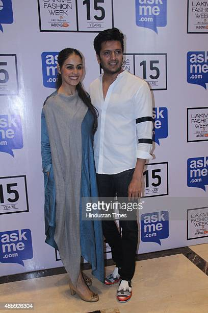 Bollywood actors Riteish Deshmukh and Genelia D'Souza Deshmukh during the Lakme Fashion Week Winter/Festive 2015 Day 3 on August 28 2015 in Mumbai...