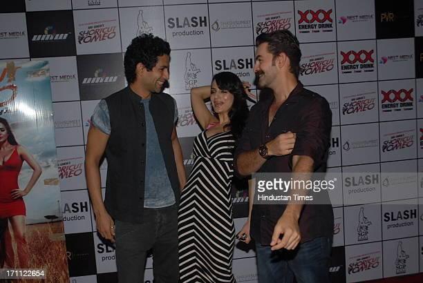 Bollywood actors Sahil Shroff Ameesha Patel and Neil Nitin Mukesh during a premiere of film Shortcut Romeo at PVR Juhu on June 20 2013 in Mumbai India