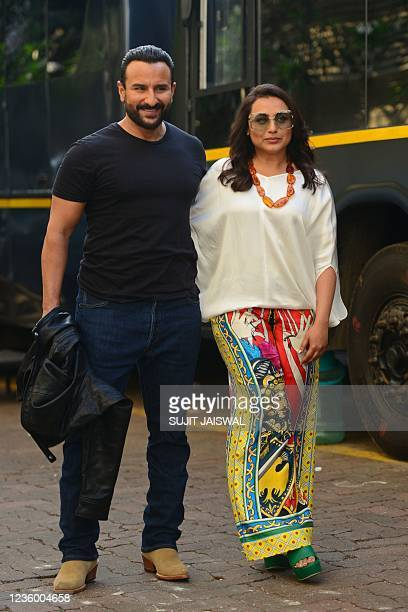 Bollywood actors Saif Ali Khan and Rani Mukerji pose for pictures during a promotional event of their upcoming crime comedy Hindi film Bunty Aur...