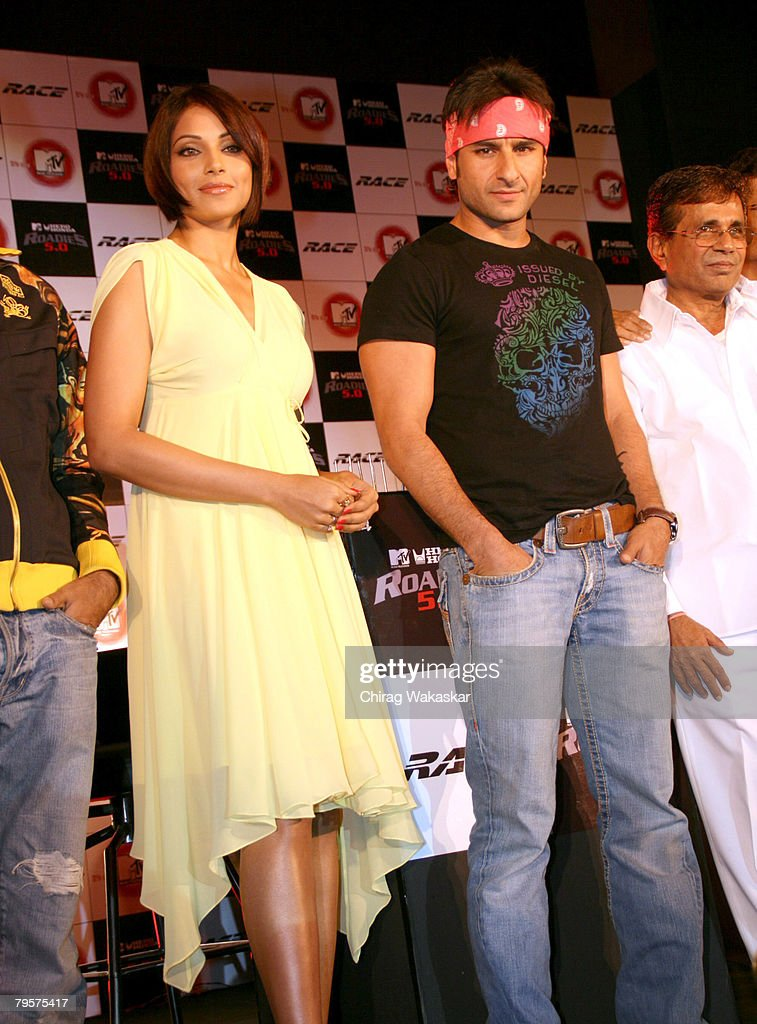 Bollywood Actors Saif Ali Khan Bipasha Basu at the press conference announcing tieup of MTV Roadies TV Show with Bollywood Movie Race held at The...
