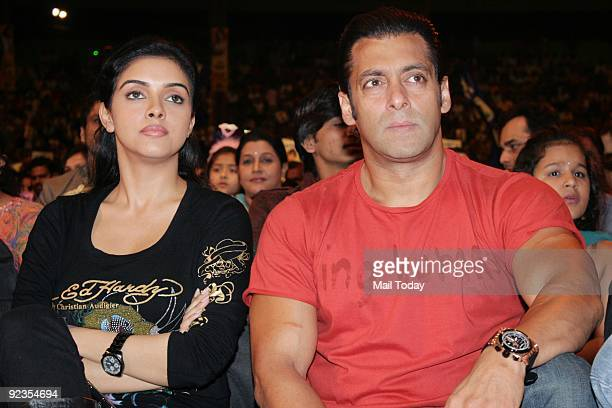 Bollywood actors Salman Khan and Asin Thottumkal at the grand finale of the reality show Little Champs in Mumbai on Saturday October 24 2009