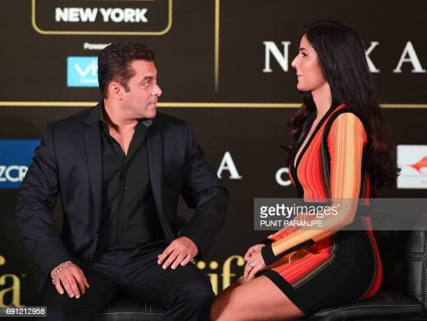 Bollywood actors Salman Khan and Katrina Kaif give a press conference on the International Indian Film Academy Awards in Mumbai on June 1 2017 The...