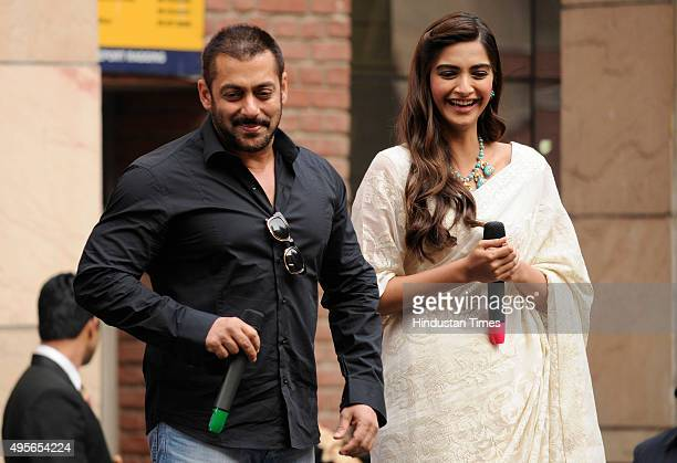 Bollywood actors Salman Khan and Sonam Kapoor during their visit to the Amity University to promote their upcoming movie Prem Ratan Dhan Payo on...