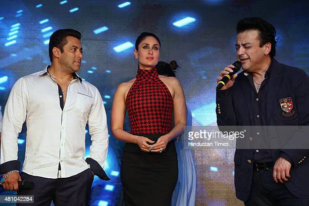 Bollywood actors Salman Khan Kareena Kapoor and singer Adnan Sami during the promotion of upcoming movie Bajrangi Bhaijaan at the luxury and business...
