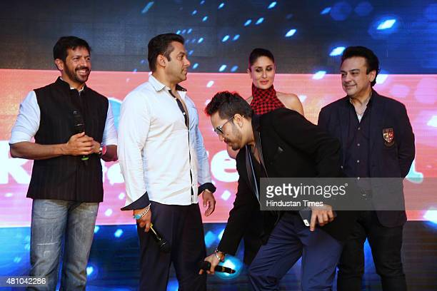 Bollywood actors Salman Khan Kareena Kapoor singers Mika Singh Adnan Sami and filmmaker Kabir Khan during the promotion of upcoming movie Bajrangi...