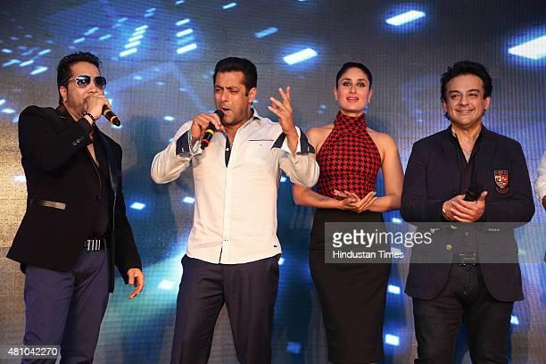 Bollywood actors Salman Khan Kareena Kapoor singers Mika Singh and Adnan Sami during the promotion of upcoming movie Bajrangi Bhaijaan at the luxury...
