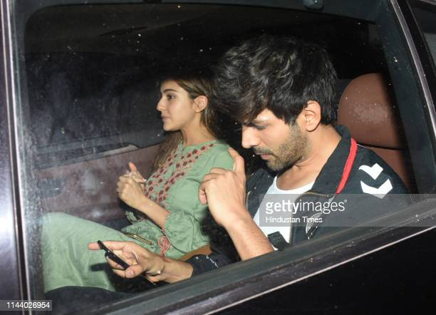 Bollywood actors Sara Ali Khan and Kartik Aaryan spotted on May 13 2019 in Mumbai India